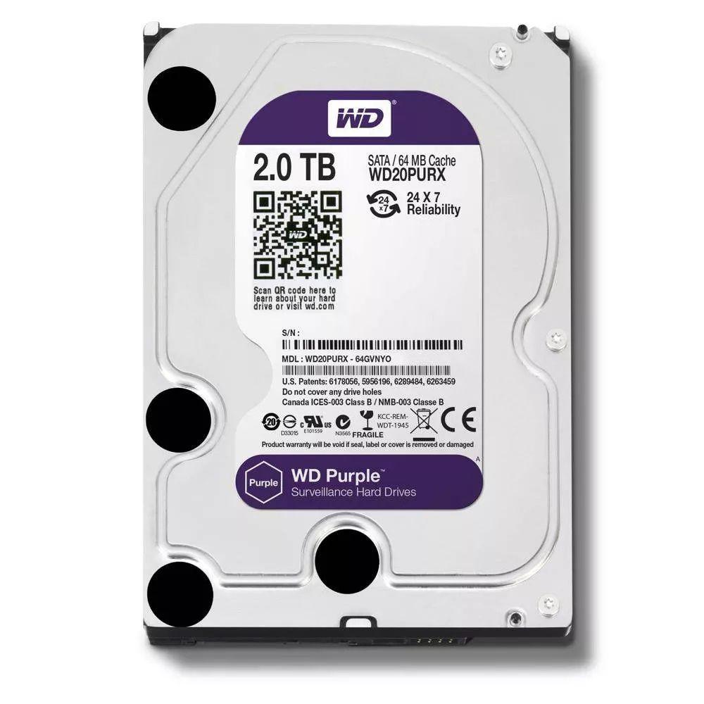 HD Interno Western Digital WD Purple 2TB Sata III 6GB/s 5400RPM  - Mega Líder Informatica