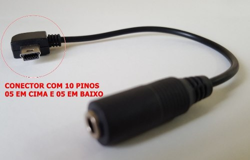 Cabo Adaptador Mini Usb 10 Pinos P/ Microfones P2 Para Câmeras Gopro 3 e 4
