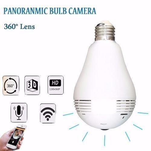 Lampada Espiã Câmera Ip 360° Olho de Peixe Hd Panorâmica Led Wifi