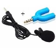 Microfone Lapela conexão P2 - 3,5mm + Adaptador P3 / P2