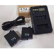 Kit 2x Baterias + Carregador Duplo Gopro Hero 5, 6, 7