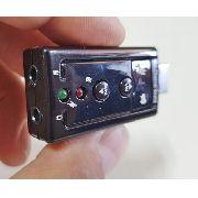 Placa De Som Externa USB 7.1 Controle Volume e Microfone