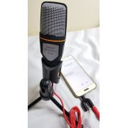Microfone Condensador pc notebook com Extensor de 1,8m + Adaptador para celular