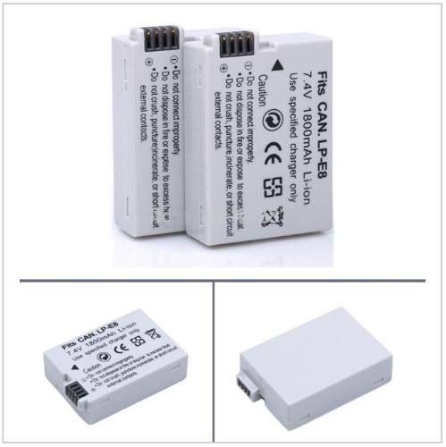 Kit 1x Baterias LPE8 1800mAh + 1x Carregador Duplo com LCD para CANON modelos LPE8