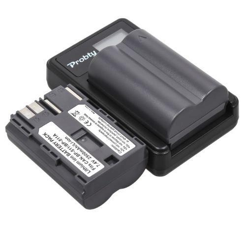 Kit 1x Bateria BP511A 2500mAh + 1x Carregador Duplo com LCD para CANON modelos BP511A