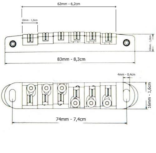 Ponte Tune O Matic Roller Preta e Prata Para Guitarras Tipo LesPaul Sg
