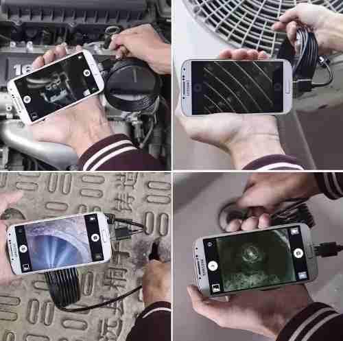 Câmera Inspeção tipo Sonda Endoscópica 6 Led´s para PC e Android (Cabo 5metros)