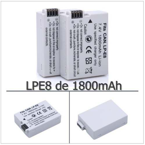 Bateria Canon LPE8 similar 1800mAh para T2i T3i T4i T5i Kiss X4 X5 700d