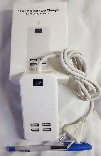 Fonte Carregador 4 portas USB 3a - 15w + 2 Cabos V8 Trançado (Micro USB)
