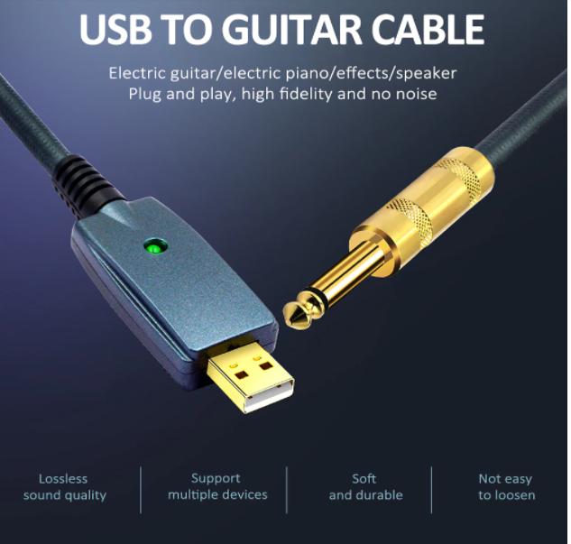 CABO P10 X USB INTERFACE GUITARRA COMPUTADOR GUITAR LINK
