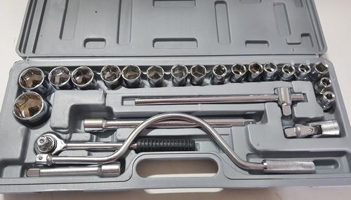 Jogo De Chaves Catraca 24 Peças Reversível Com Soquetes até 32mm
