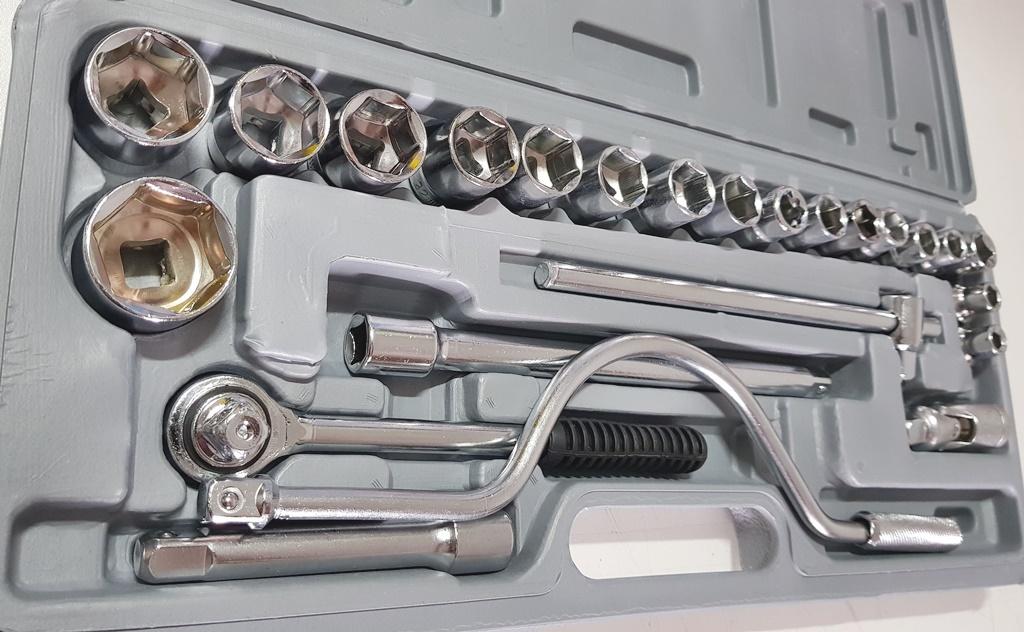 Jogo Ferramenta Chaves Catraca 24 Peças Reversível Soquetes até 32mm