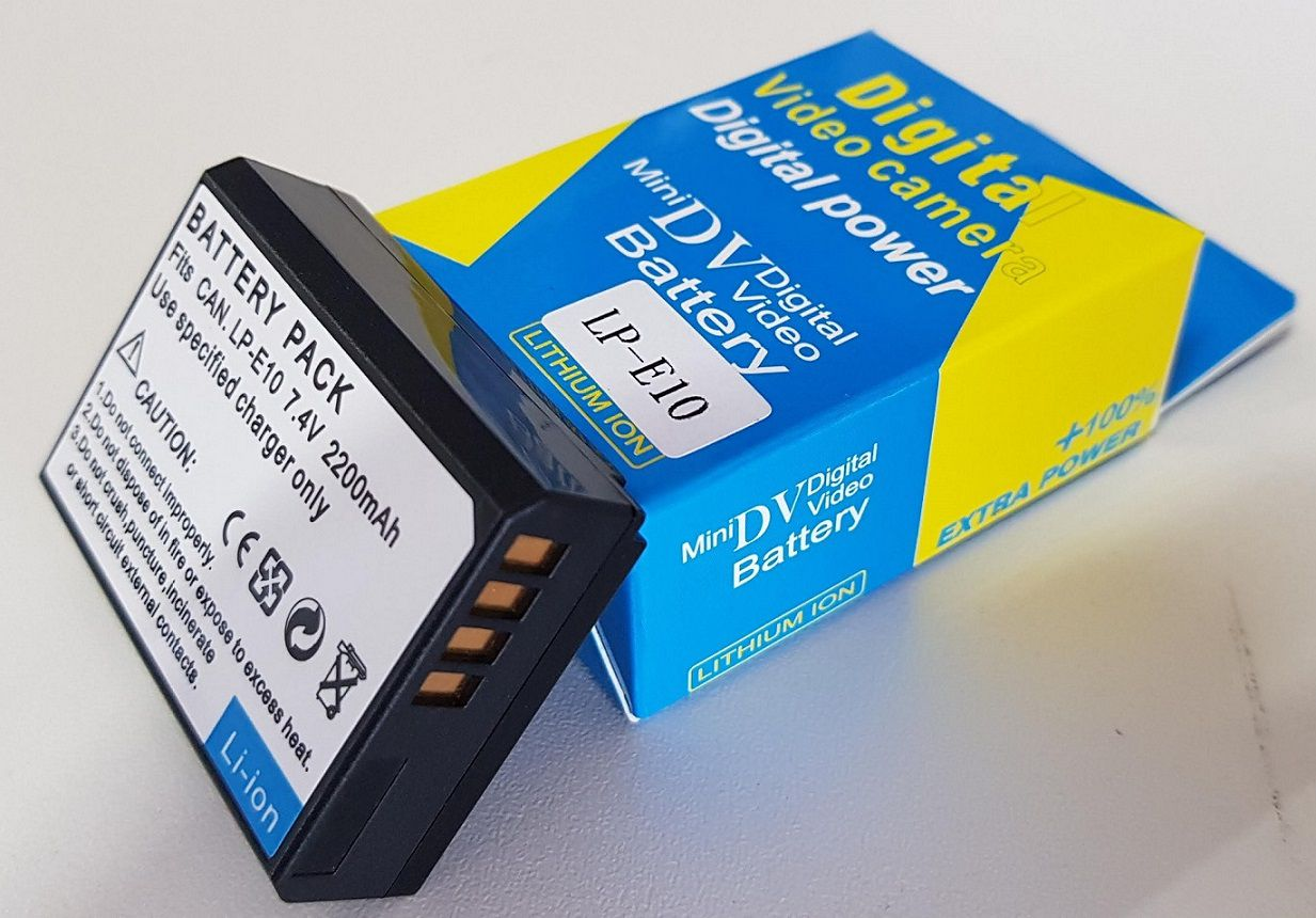 Kit 1x Bateria LPE10 + 1x Carregador Duplo com LCD para CANON modelos LPE10