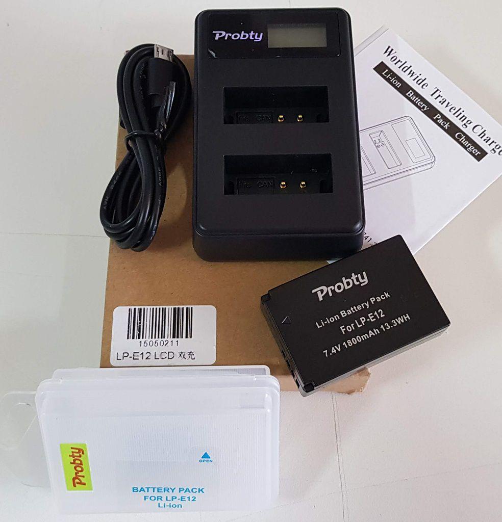 Kit Bateria Lpe12 + Carregador Duplo para Canon M M2 M10 M50 M100 SL1 100D X7