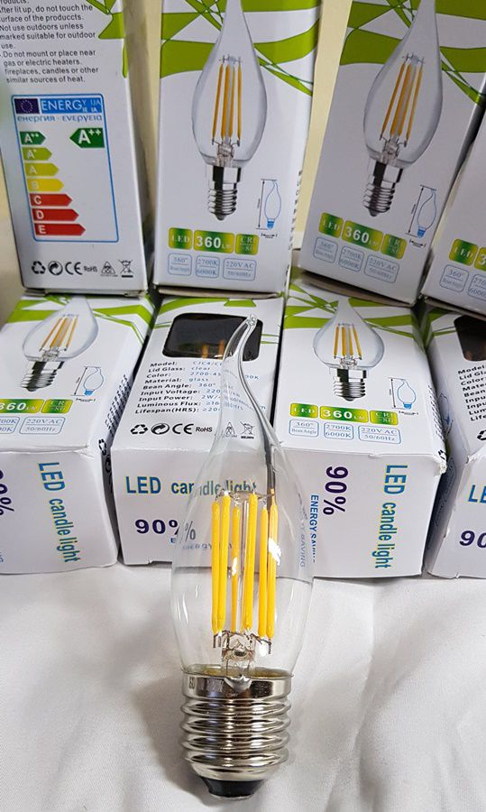 Lâmpada Led Vela Com Bico E Filamento 6w E27 Branco Quente AMARELADA