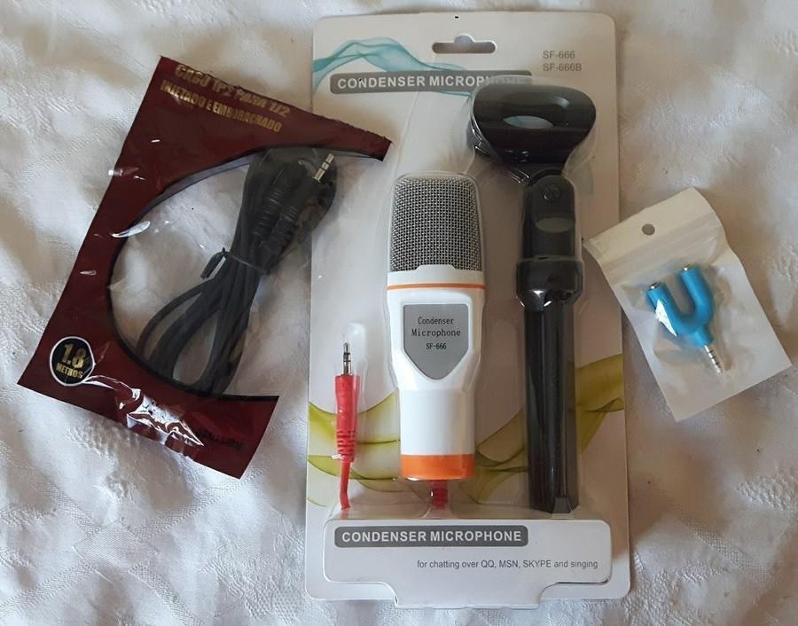 Microfone Condensador SF-666 com Extensor de 1,8m + Adaptador para celular