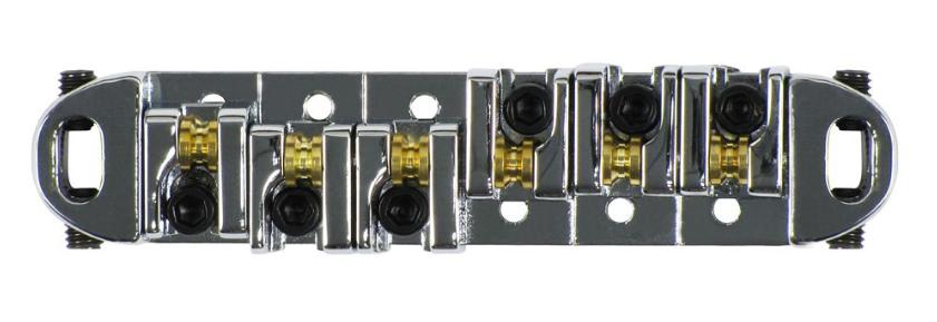Ponte Tune Roller Preta e Prata Para Guitarras Tipo LesPaul Sg