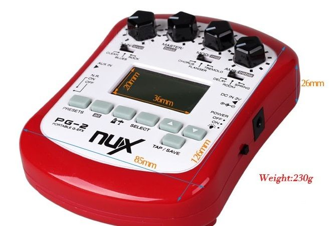 Processador Efeitos Para Guitarra- Nux PG-2 + Fonte Estabilizada 9v