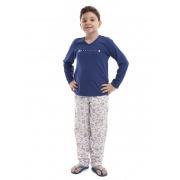 Pijama Longo infantil de Meia Estação em Malha de Algodão