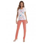 Pijama com Calça Comprida e Manga Curta em Liganete Amni