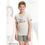 Pijama de Bermuda Infantil com Manga Curta em Malha de Algodão