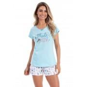 Pijama de Short com Manga Curta em Malha de Algodão