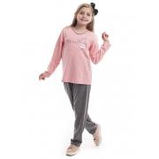 Pijama Longo infantil para Meia Estação em Malha de Algodão