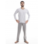 Pijama Longo Masculino para Meia Estação em Malha de Algodão