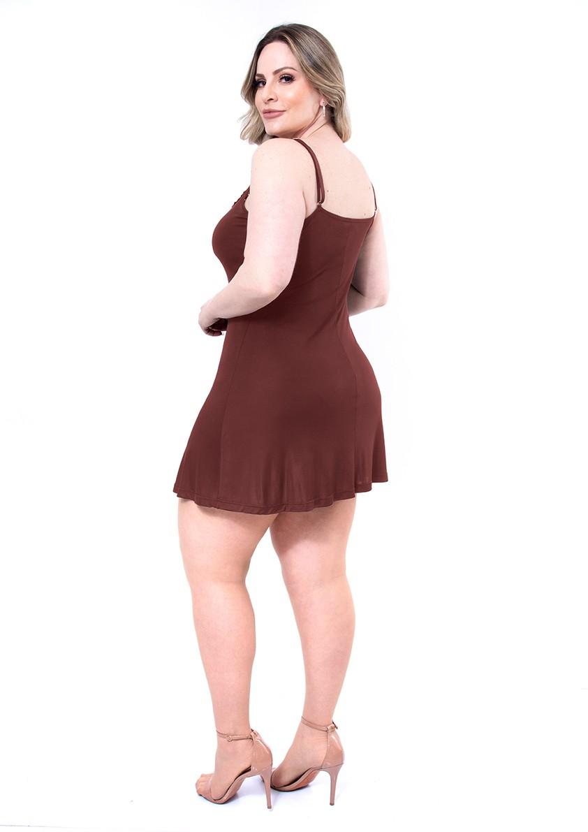 Camisola de Alças em Liganete Amni com Decote de Renda Plus Size