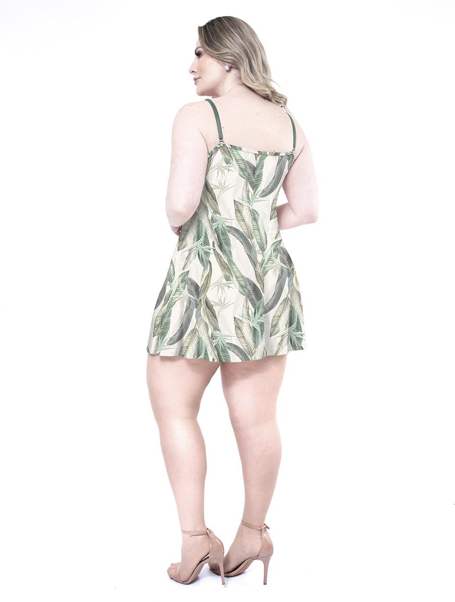 Camisola de Alças em Liganete Amni Estampada com Decote de Renda Tamanho Plus  Size