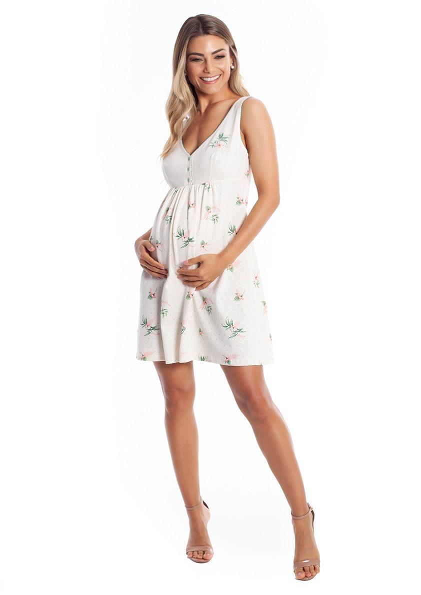 Camisola Maternidade com abertura de botão em Malha de Algodão