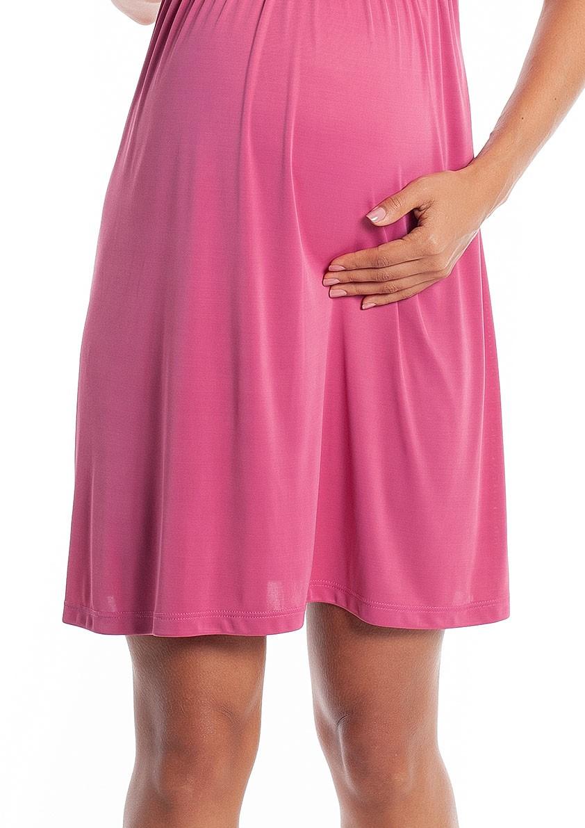 Camisola Maternidade em Liganete Amni e Renda com Abertura para Amamentação