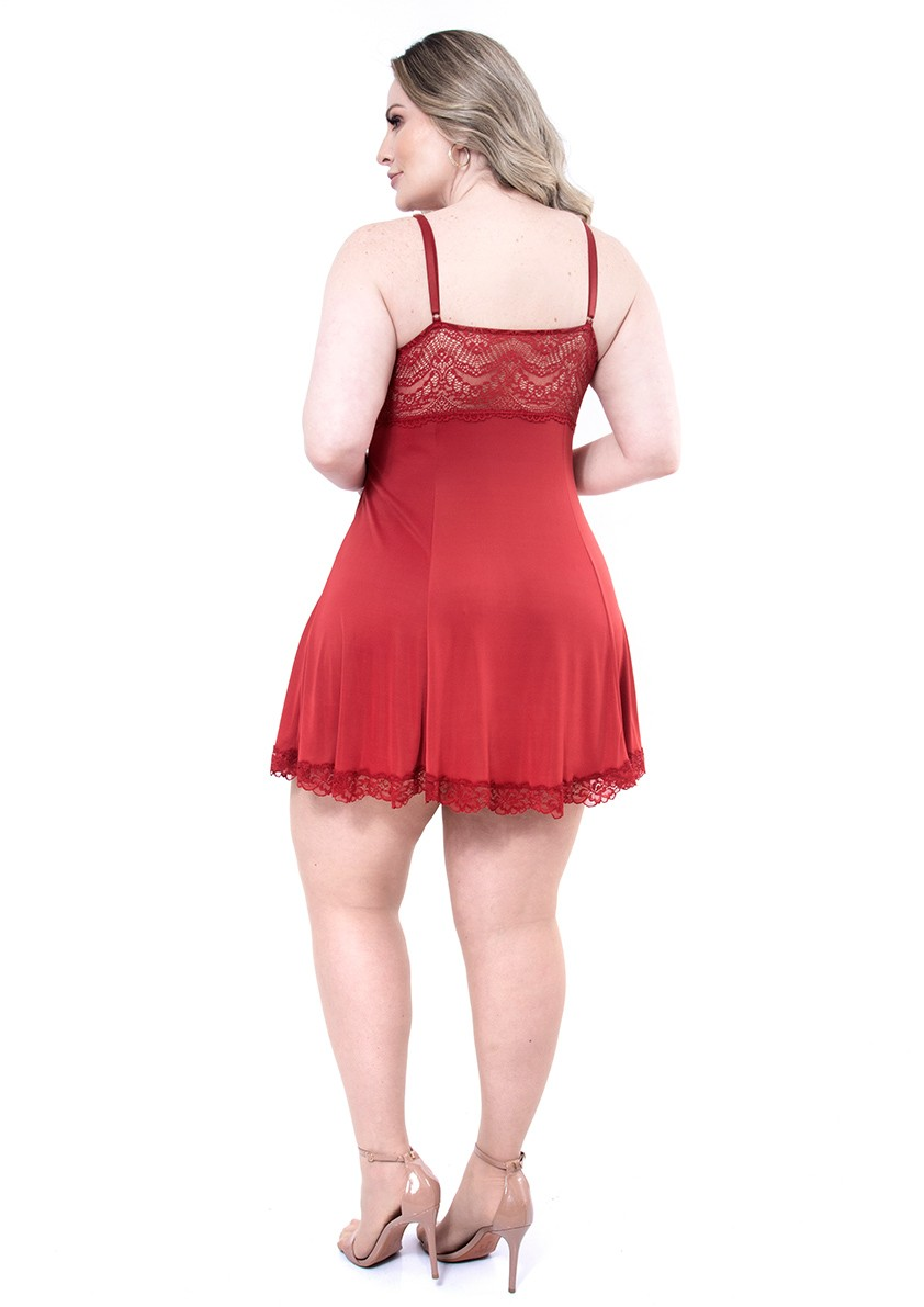 Camisola Sensual em Liganete Amni Toda Trabalhada com Decote de Renda Plus Size