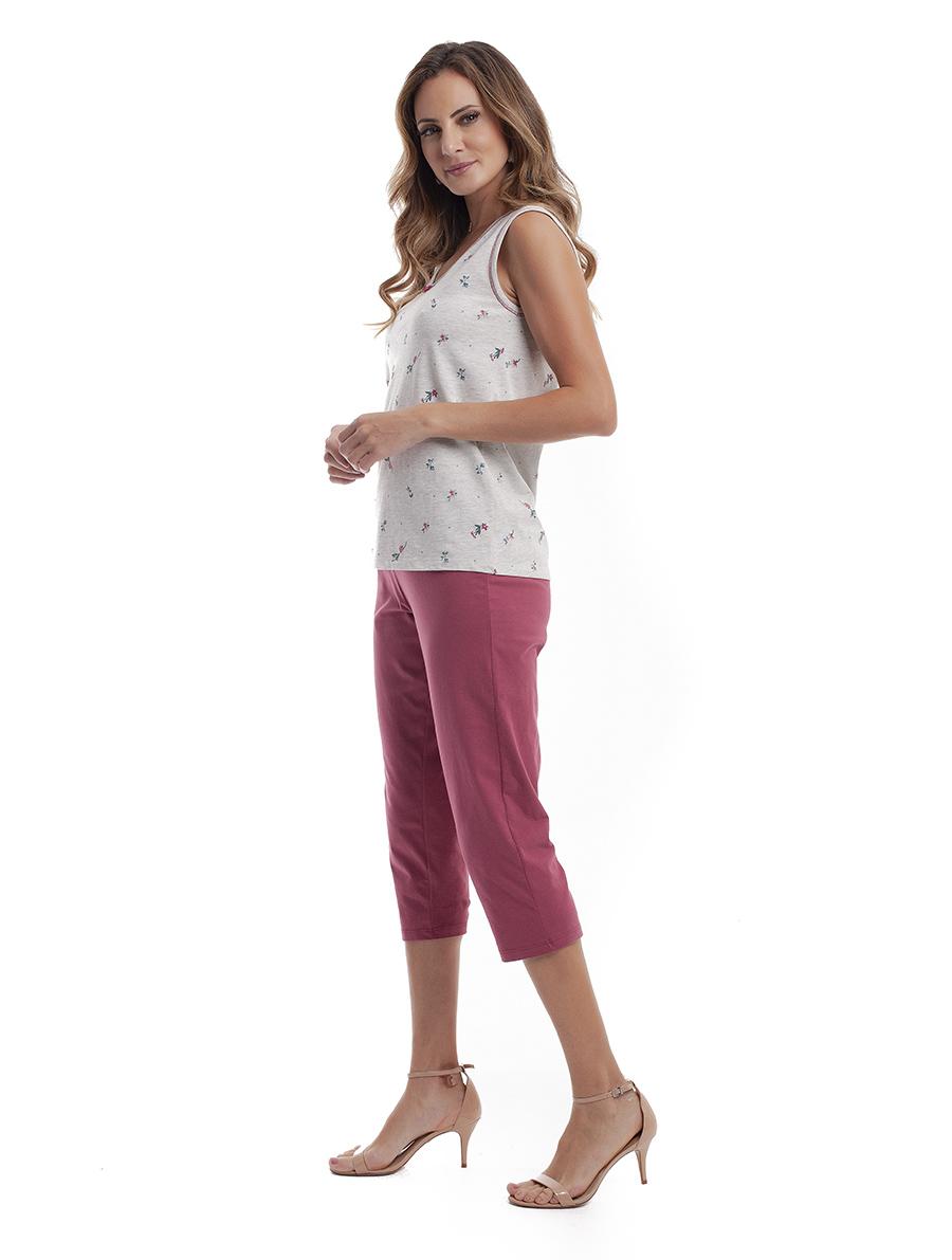 Pijama Capri Sem Manga em Malha de Algodão