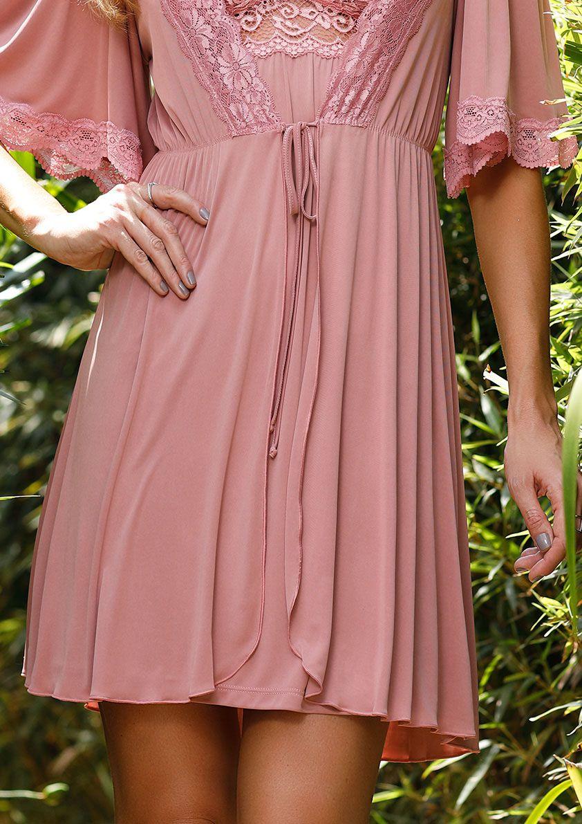Robe Lovely de Amarrar em Liganete Amni com Detalhes em Renda