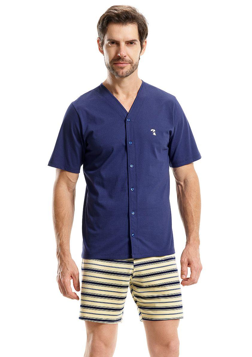 Pijama Aberto Manga Curta com Bermuda para Homem em Malha de Algodão