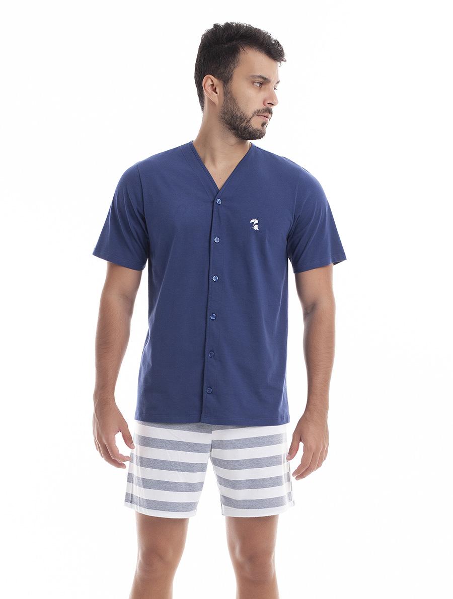 Pijama Aberto Manga Curta com Bermuda para Homem em Malha Fio Tinto