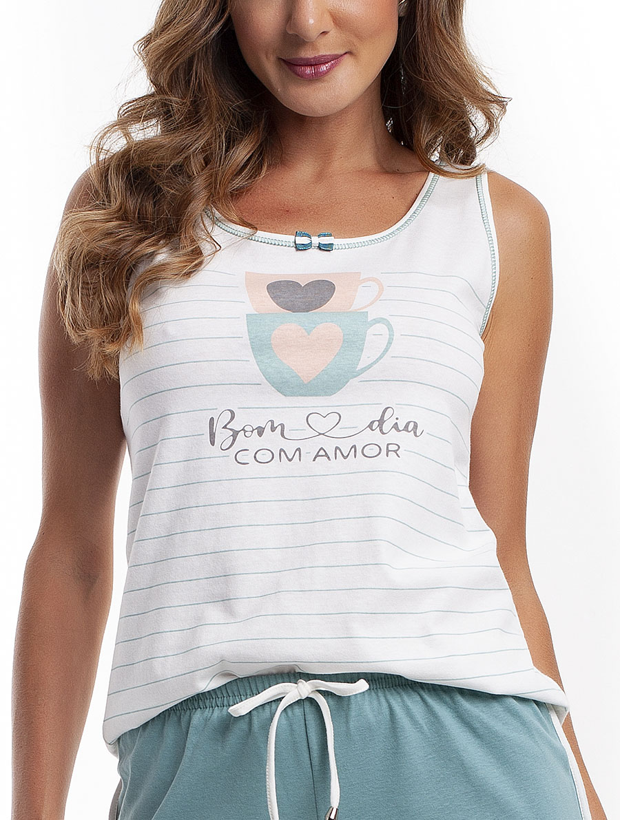 Pijama Bermuda Regata em Malha Algodão