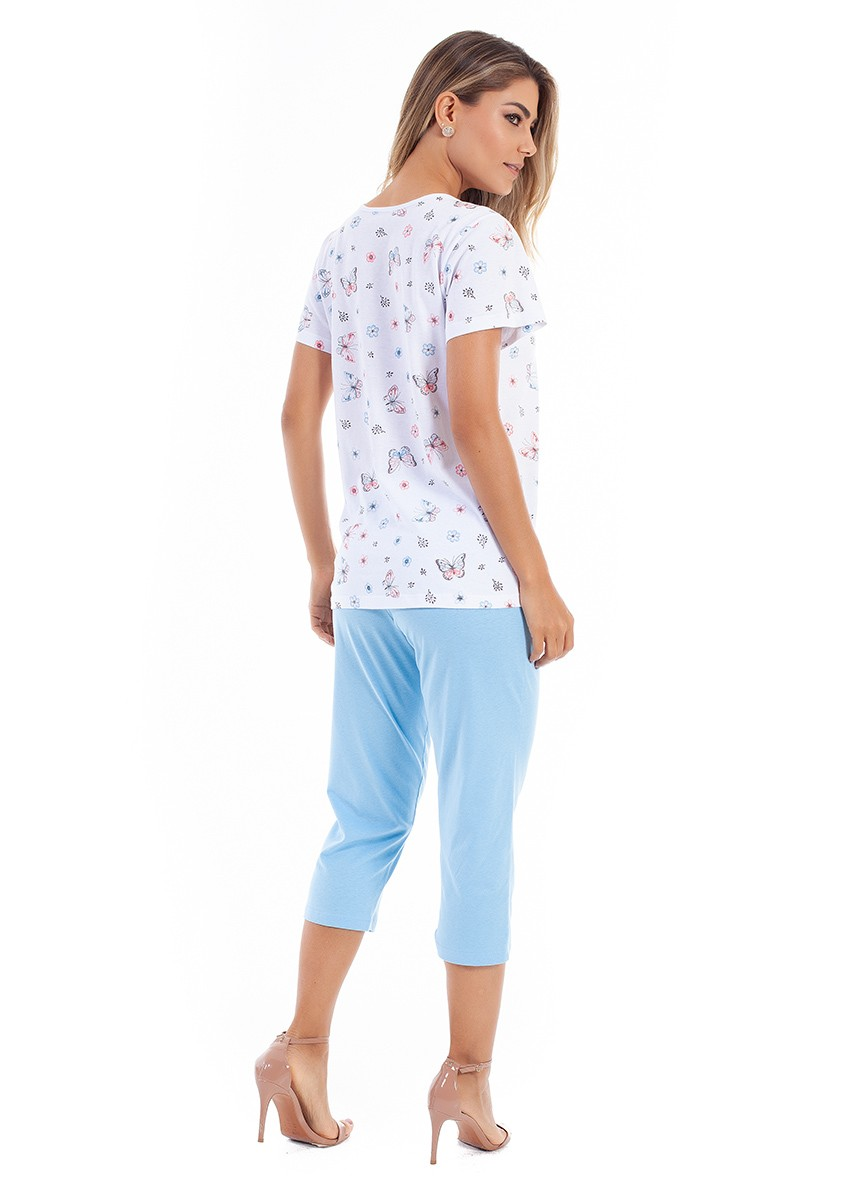 Pijama Capri Aberto com Botão Manga Curta em Malha de Algodão