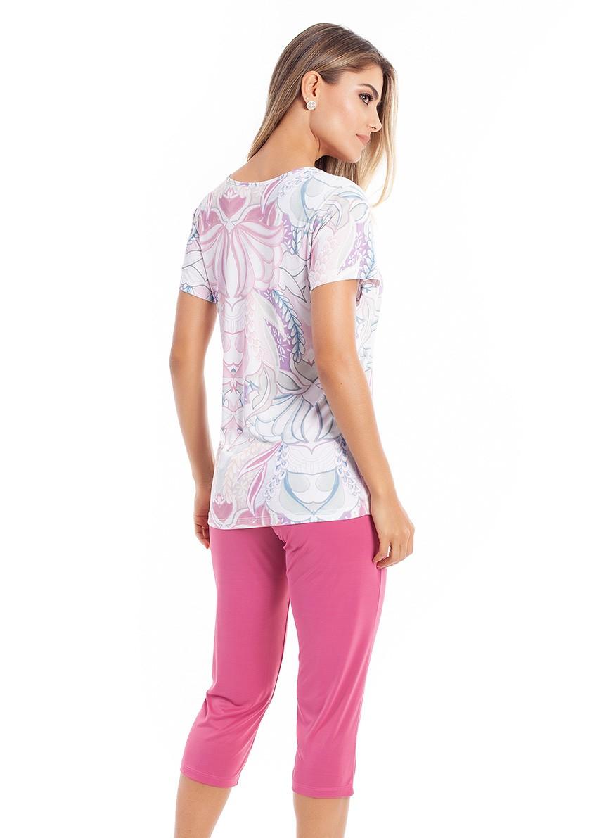 Pijama Capri com Manga Cuarta em Liganete Amni