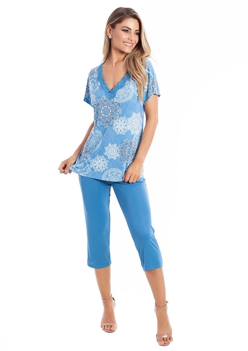 Pijama Capri com Manga Curta em Liganete Amni