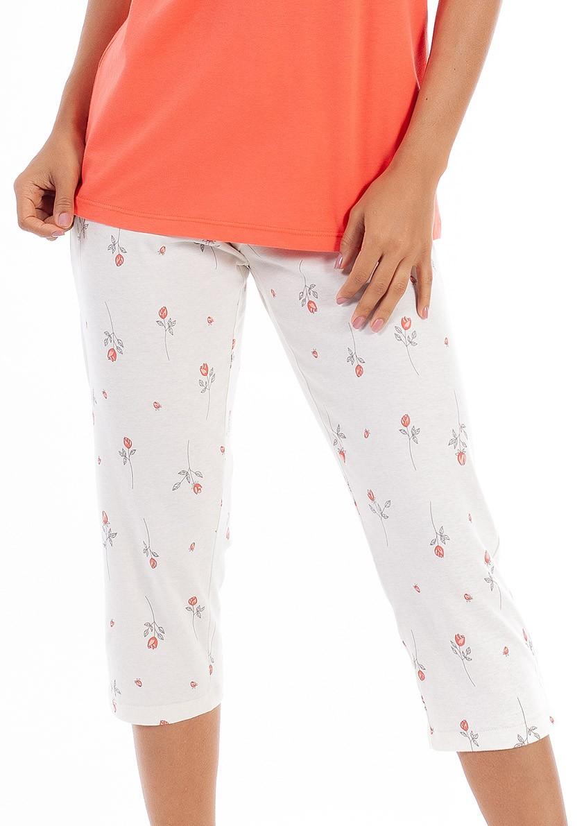 Pijama Capri com Manga Curta em Malha de Algodão