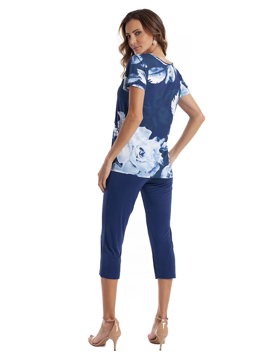 Pijama Capri com Manga Curta em Liganete Super Light