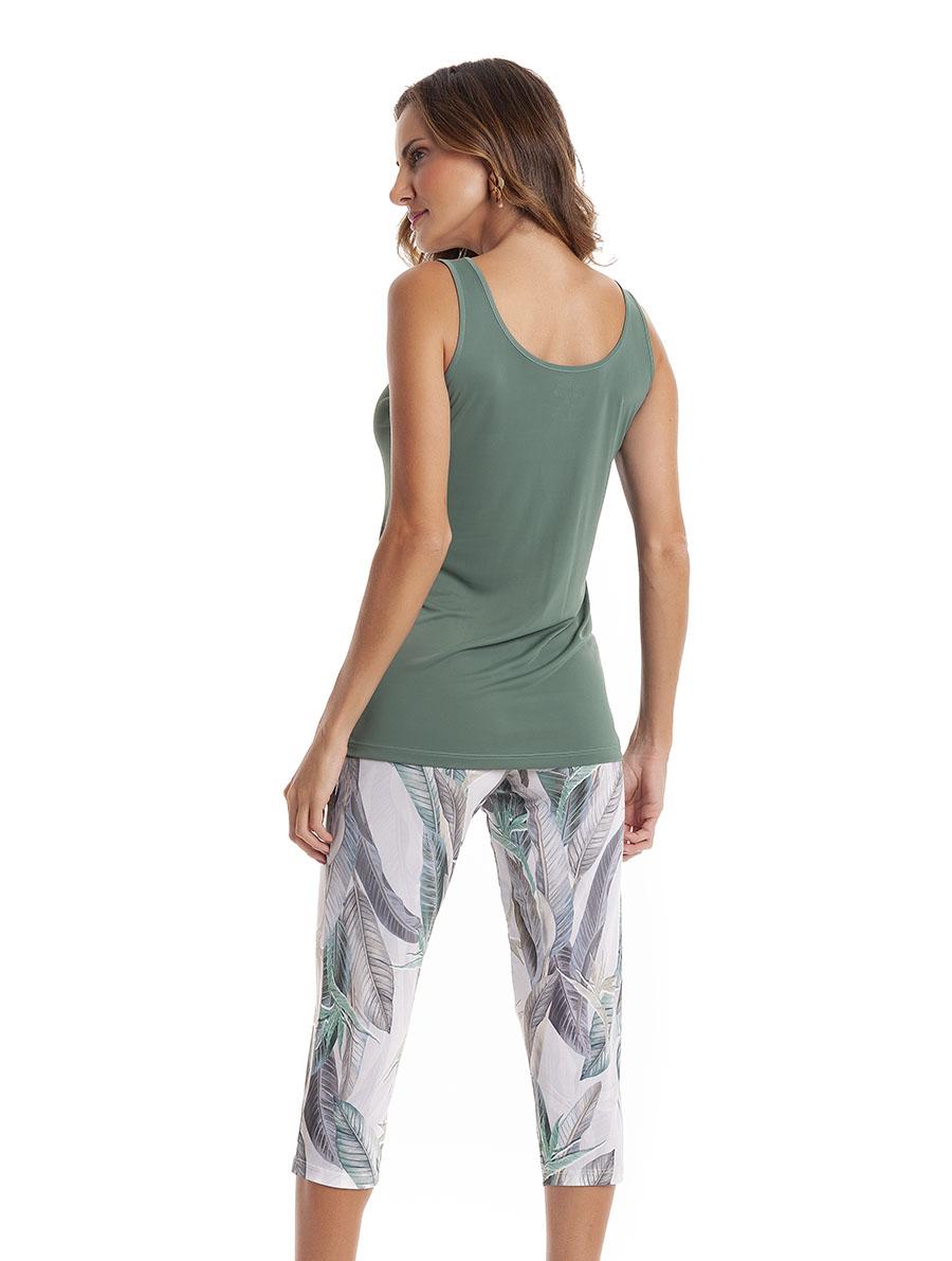 Pijama Capri Regata com Costas Cavada em Liganete Amni
