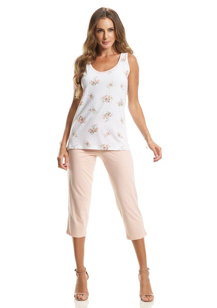 Pijama Capri Regata com Costas Cavada em Malha de Algodão
