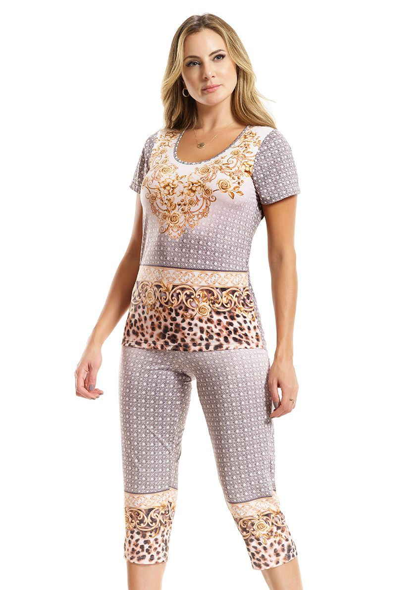 Pijama Capri com Manga Curta em MIcrofibra Sublime
