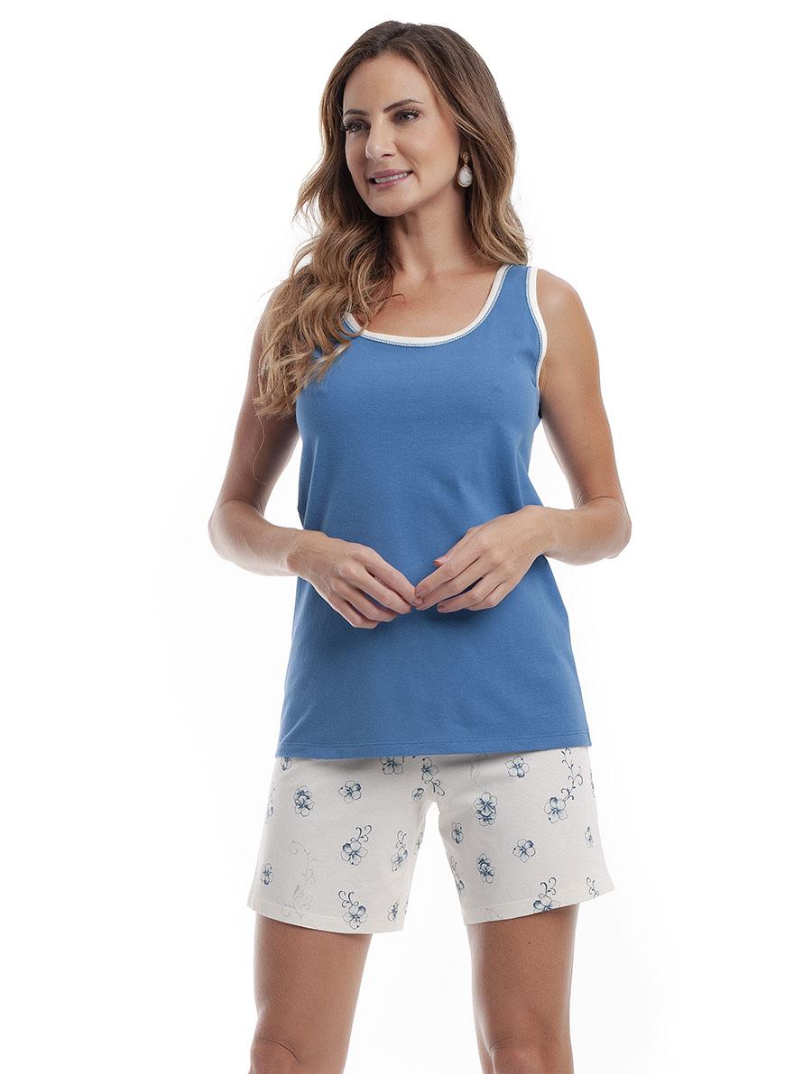 Pijama com Bermuda Regata Costas Cavada em Malha de Algodão
