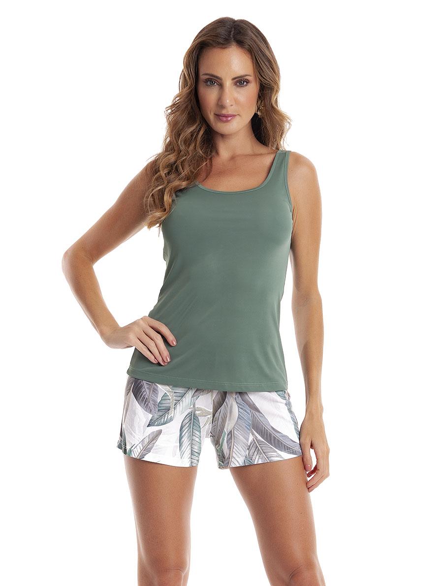 Pijama com Short Regata com Costas Cavada em Liganete Amni