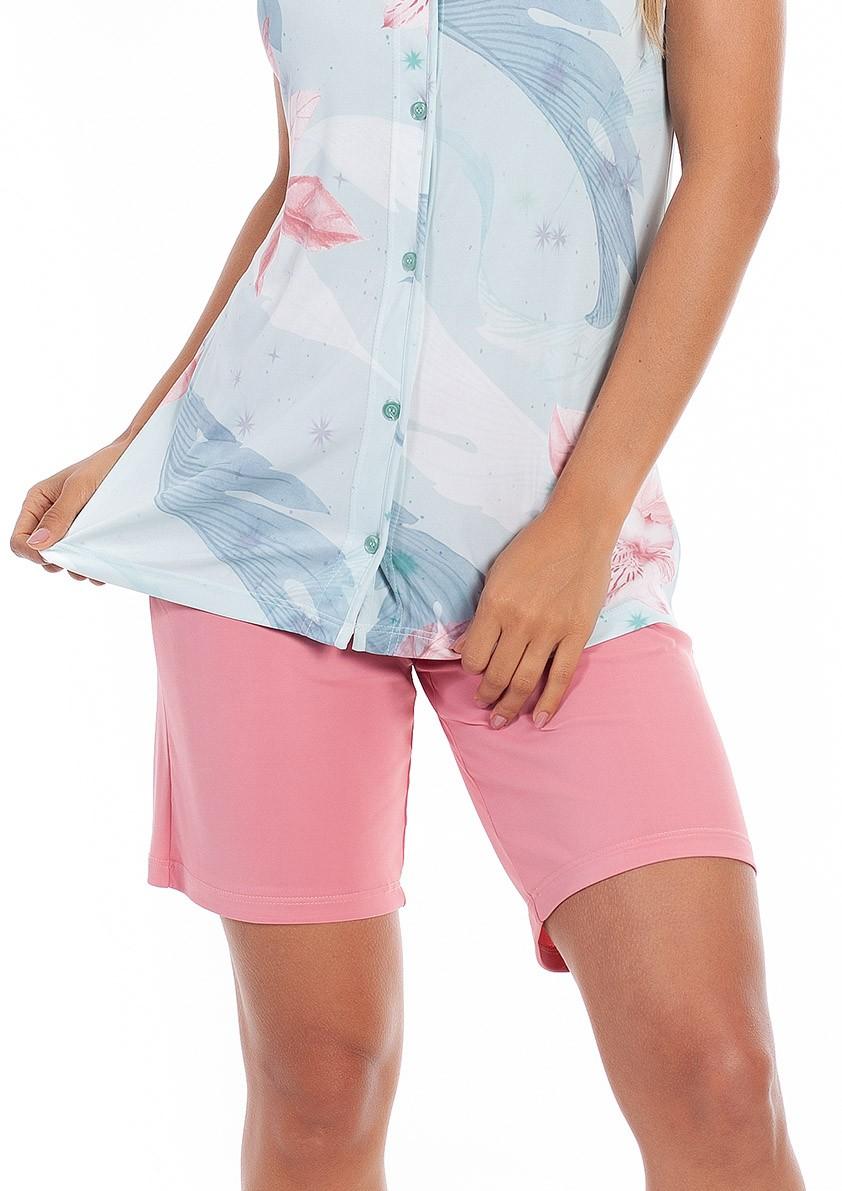 Pijama de Bermuda Aberto com botão Cavado em Liganete Amni