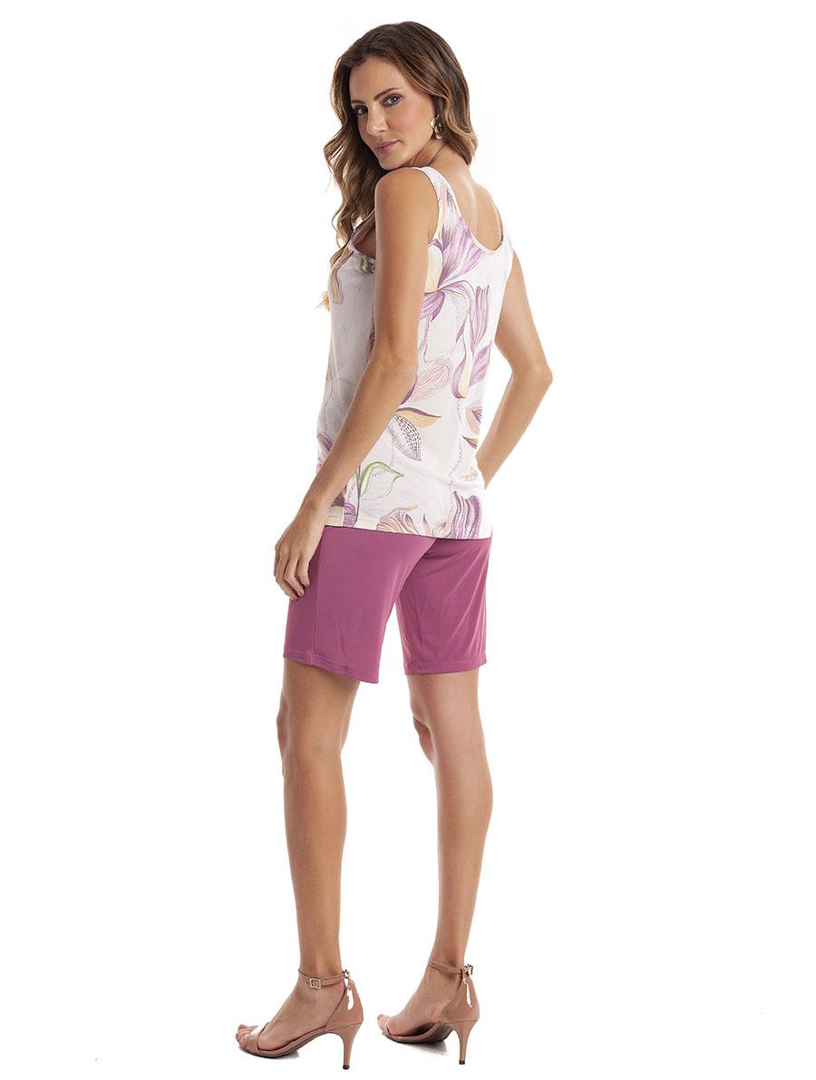 Pijama de Bermuda Regata Aberto com botão em Liganete Amni